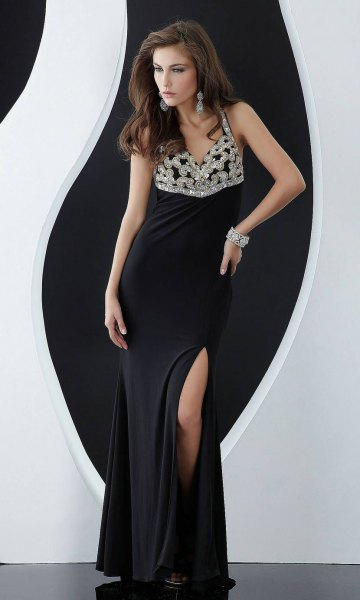 silver and black two toned sequin deep v-neck dress