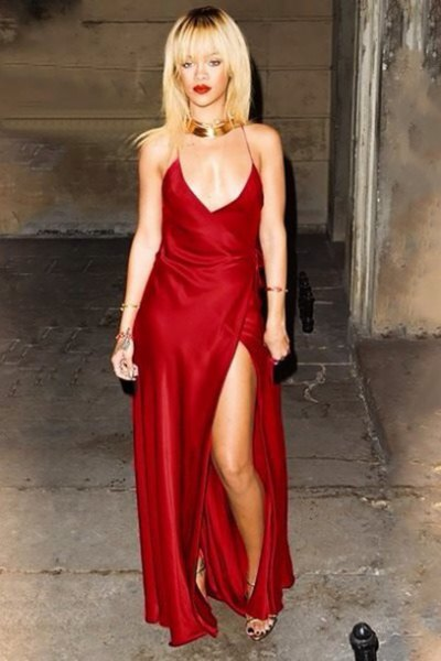 red deep v-neck silk slit maxi dress with gold choker necklace