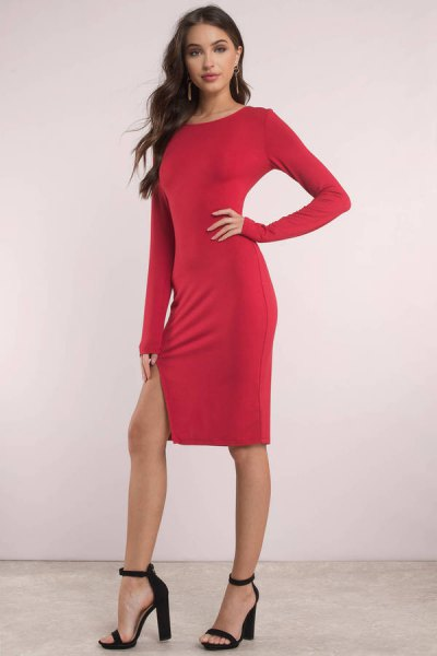 long sleeve bodycon knee length dress with black heels