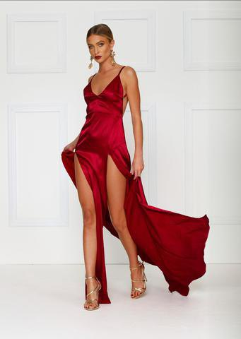 red deep v-neck spaghetti strap double split maxi dress