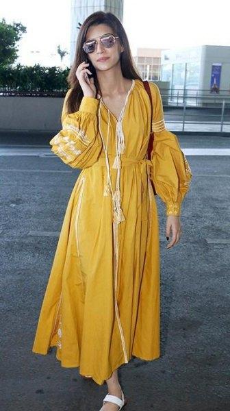 mustard v-neck maxi pleated puff sleeve dress
