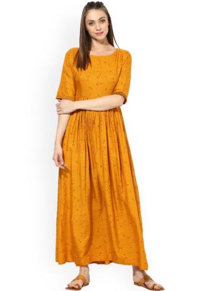 mustard yellow half-warm pleated maxi casual fit dress
