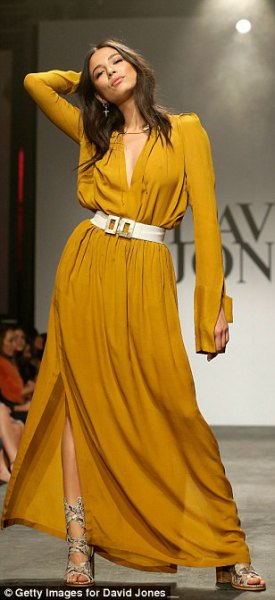 long sleeve mustard maxi dress with white wide belt