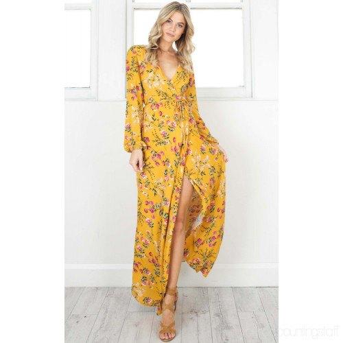 mustard yellow floral printed high split long dress