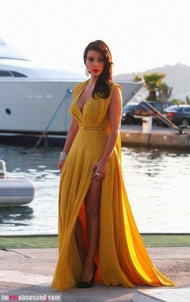 yellow chiffon high split deep v-neck floor length dress