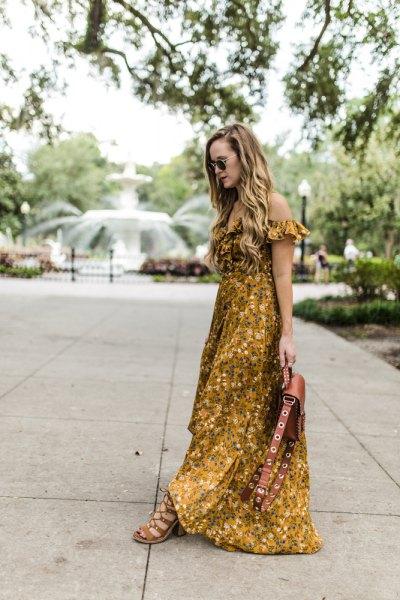 of floral printed floor length dress
