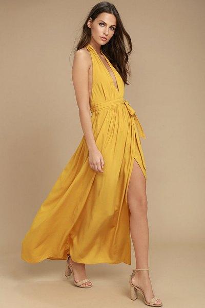 mustard deep v-neck halter neck high split maxi blown dress