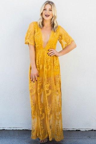 yellow short-sleeved deep v-neck printed long dress