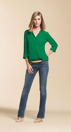 green button up chiffon blouse with gray blue lightly puffed jeans