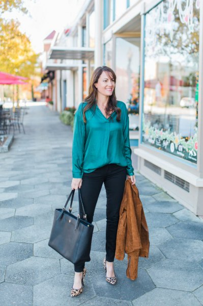 green silk button shirt with black ankle chinos
