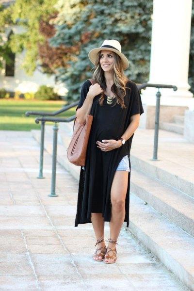 black side slit t-shirt dress with blue denim shorts