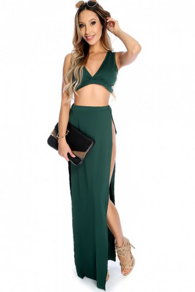green deep v-neck in two parts side slit maxi dress