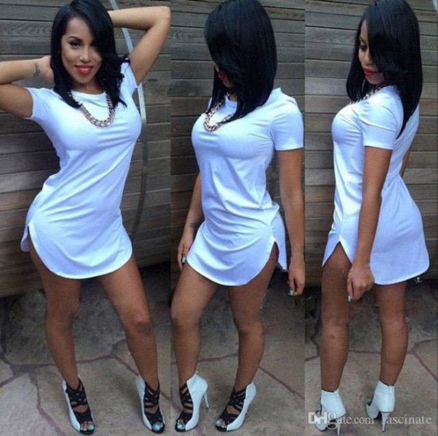 white side slit mini t-shirt dress with cutout boots