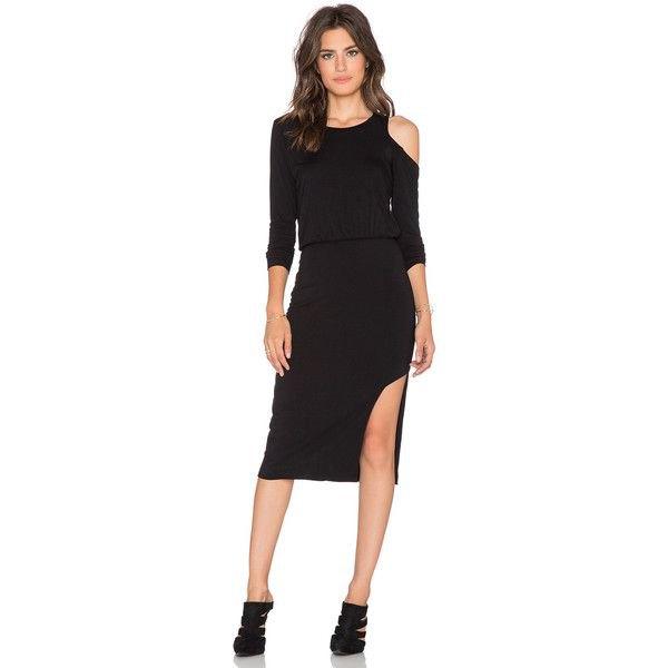 black one shoulder side worn mantle midi dress