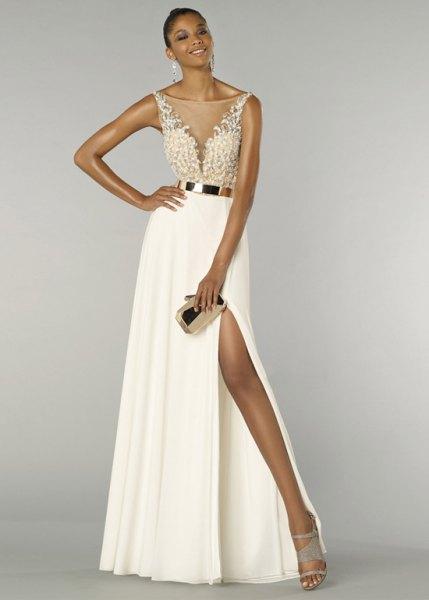 white two toned maxi belt high split dress