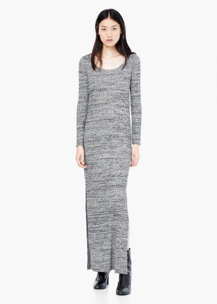 gray maxi shift knit sweater dress with boots