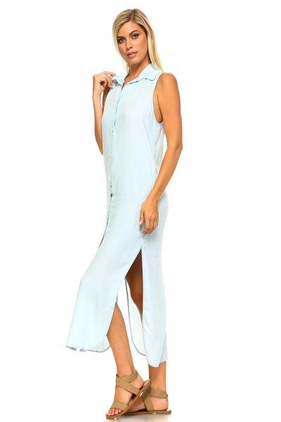 white sleeveless button up maxi shirt dress
