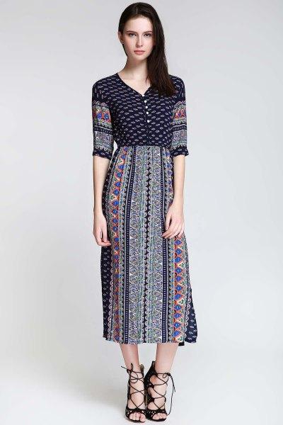 tribal printed half-heated midi side slit dress
