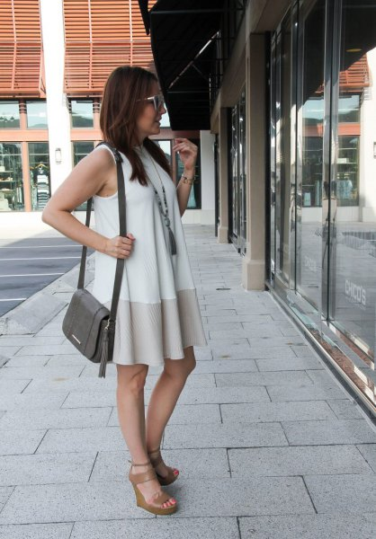 white and blush pink color mini shift dress