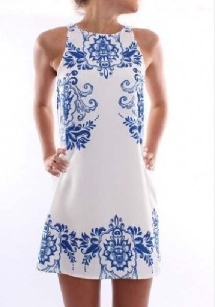 white and blue tribal printed mini shift dress