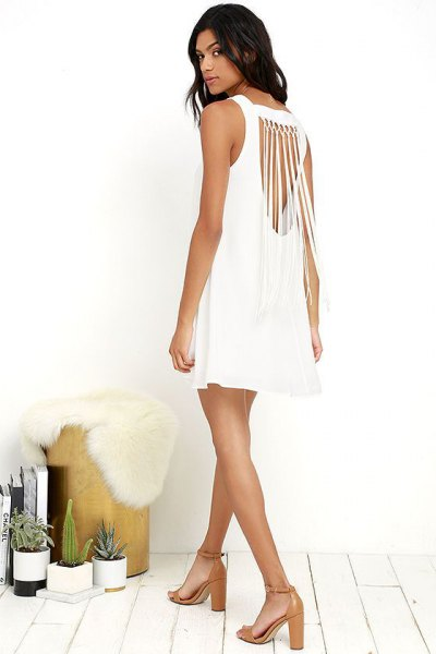 white cutout in sleeveless mini-shift dress