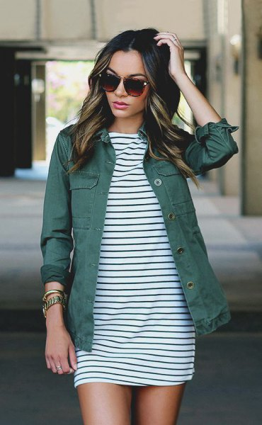 black and white striped shift mini dress with gray denim jacket