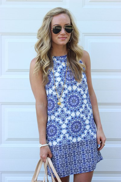 blue and white tribal printed mini sleeveless shift dress