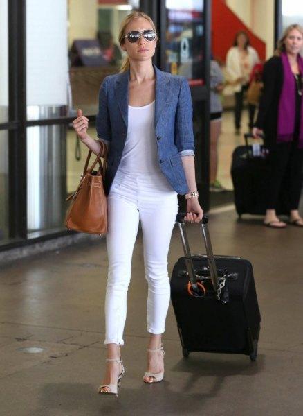 blue half-heated blazer with white cuffed skinny jeans