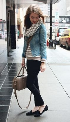 blue denim jacket with striped sweater and black chinos