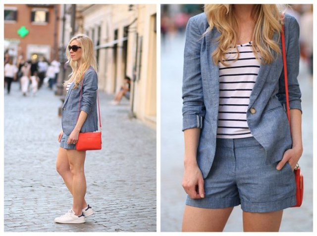 black and white striped tee with denim blazer and matching shorts