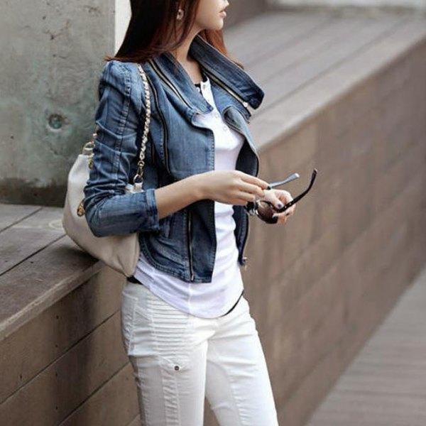 blue puff shoulder denim jacket and white moto jeans