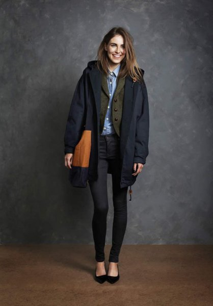 chambray shirt with wool blazer and black coat