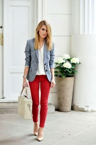 Heather gray blazer with white v-neck sweater and red jeans