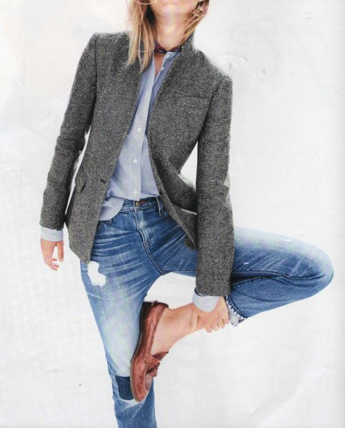 wool blazer with light blue shirt and ripped boyfriend jeans
