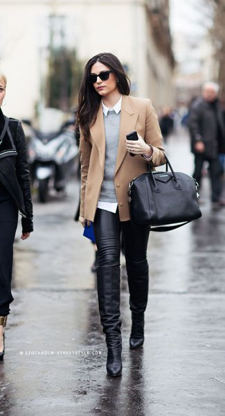 pink pink wool blazer with gray sweater and leather pants