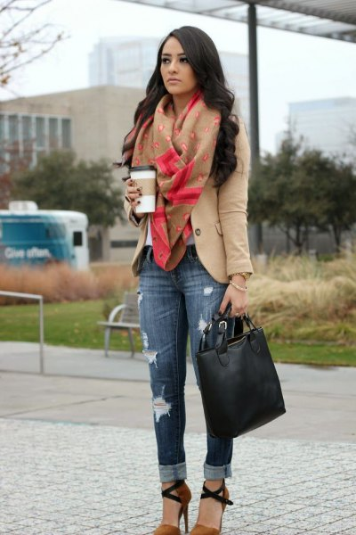 blush blazer with pink scarf and ripped skinny jeans