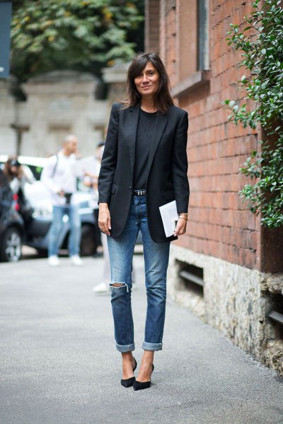 black blazer with cuff sweater and cuffed jeans
