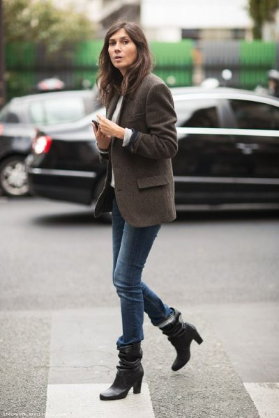 gray oversized wool jacket with black leather boots