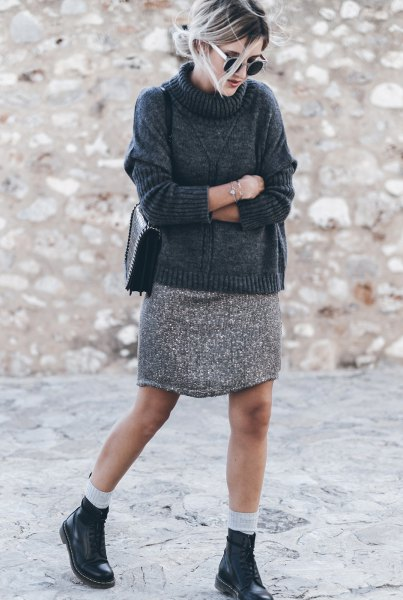 sweater neck sweater with light heather gray mini skirt