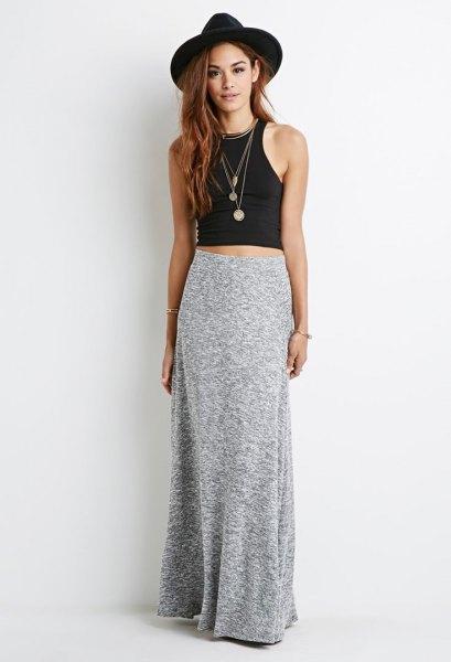 floor length dress with black sleeveless crop top