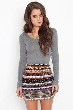 gray long sleeve top with tribal printed mini skirt