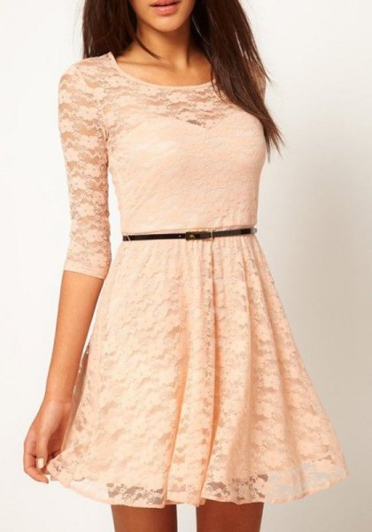 three quarter sleeve belt fit and flared semi sheer lace dress