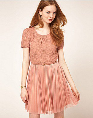 peach two toned short sleeves lace and chiffon pleated mini skater dress