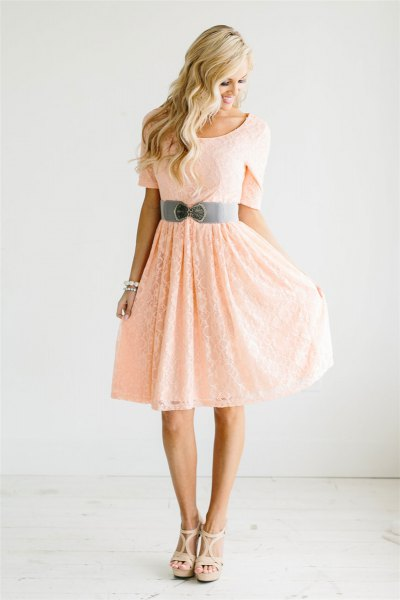 peach short sleeve belt fit and flare knee length dress