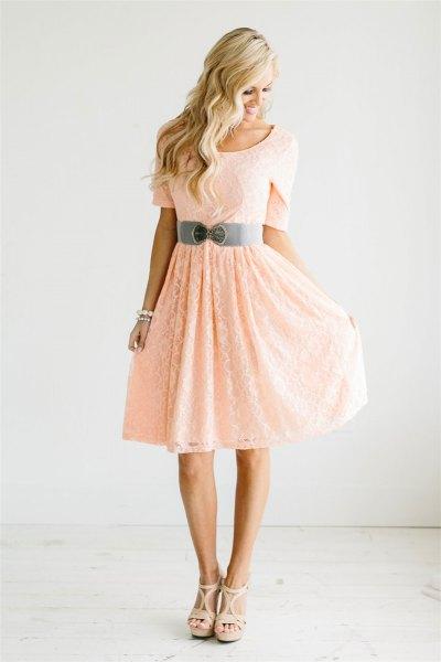 peach short sleeve belt fit and flare knee length dress