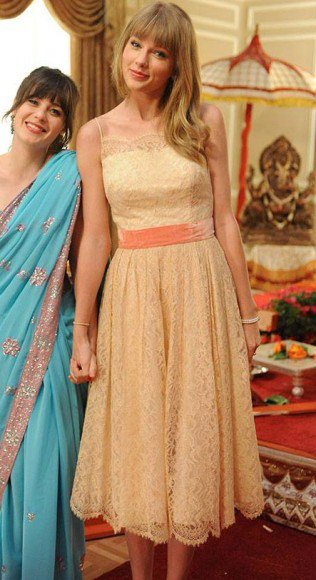 peach silk and lace gathered waist puffy dress