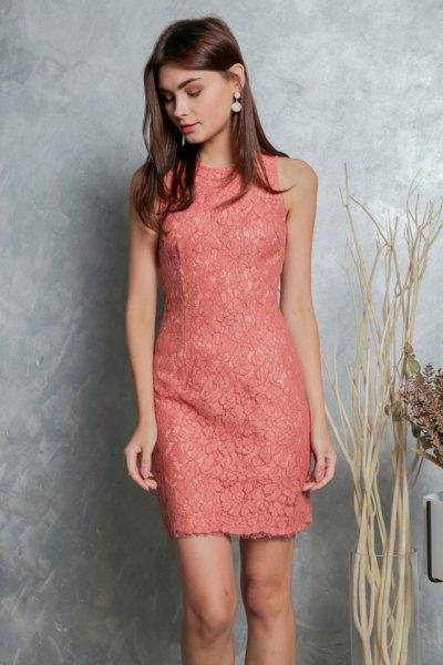 peach sleeveless lace mini dress