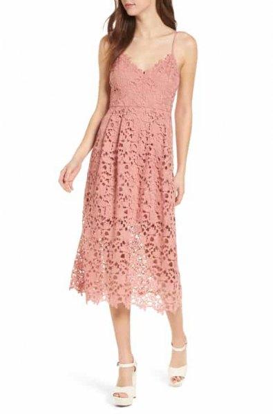 peach deep v-neck midi lace mantle dress