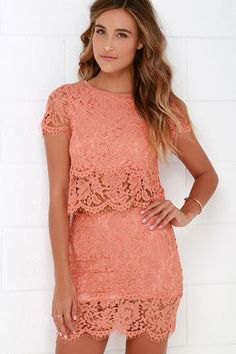 lace in two pieces of semi clean mini bodycon dress