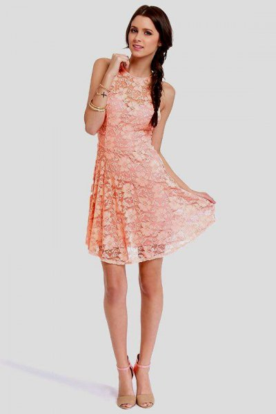 peach sleeveless lace fit and flare mini dress with pink pink heels